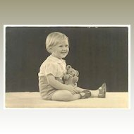 Girl with Teddy Bear: 6 x 4 Vintage Photo
