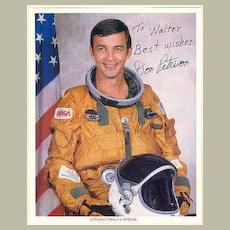 Don Peterson, Astronaut. Authentic Autograph, CoA