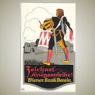 Artist signed, lithographed Post Card for Promotion of War Bonds.