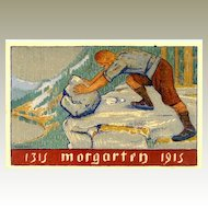 1915: Swiss Art Deco Card: Morgarten. Artist signed Maurice Mathey