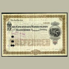 Four different Shares of the Cincinatti Washington and Baltimore RR Co 1883