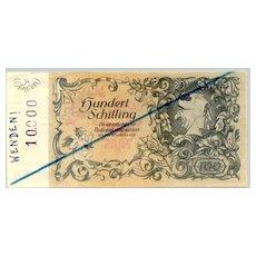 Unusual Austrian banknote for propaganda purpose: 100 Schilling