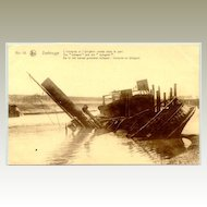 Sunken Ship in Zeebrugge. Old postcard.