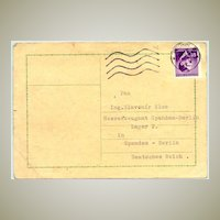 1943: Card sent from Bruenn to Lager 2 in Spandau / Berlin.