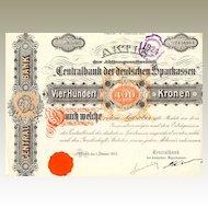 Centralbank der Deutschen Sparkassen. Very decorative Austrian Share