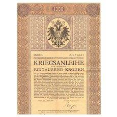 Art Nouveau Bond 2nd Austrian War Bond World War I
