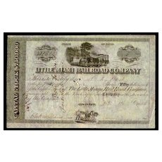 1846: Little Miami Railroad Company. Antique Stock Certificate