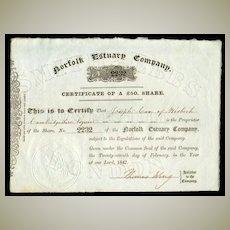 1847: Norfolk Estuary Company. Antique Share