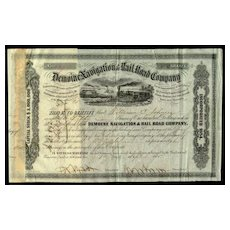 1855: Steubenville and Indiana Rail Road Company. Stock Certificate