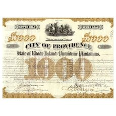 City of Providence: State of Rhode Island  1000 $ Bond