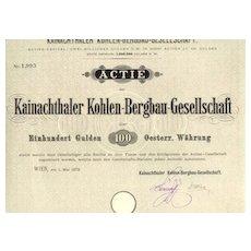 1872: Scarce Austrian Mining - share. High Cat. val