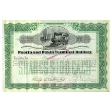 Peoria and Pekin Terminal Railway Stock Certificate