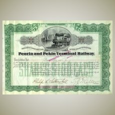 Peoria and Pekin Terminal Railway Stock Certificate