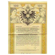 Austrian Art Deco Bond by Alfred Cossmann, 100 Kronen