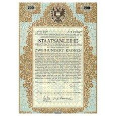 Austrian Art Deco: 5th War Bond 200 Kronen. Decorative certificate
