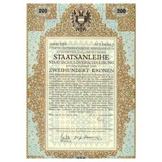 Austrian Art Deco: 5th War Bond 200 Kronen. Decorative certificate