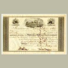 1853: The Baltimore and Ohio RR Co. Swann signature! COA included.