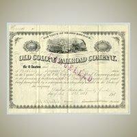 Old Colony Railroad Company. Antique Stock Certificate,