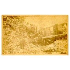 1895: Old Albumen Photo of train accident