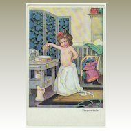 Darling Postcard: Little Girl washing herself. Bender.