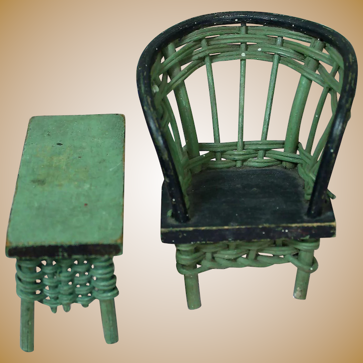 Astonishing Charming Green Wicker And Wood Doll Furniture Ncnpc Chair Design For Home Ncnpcorg