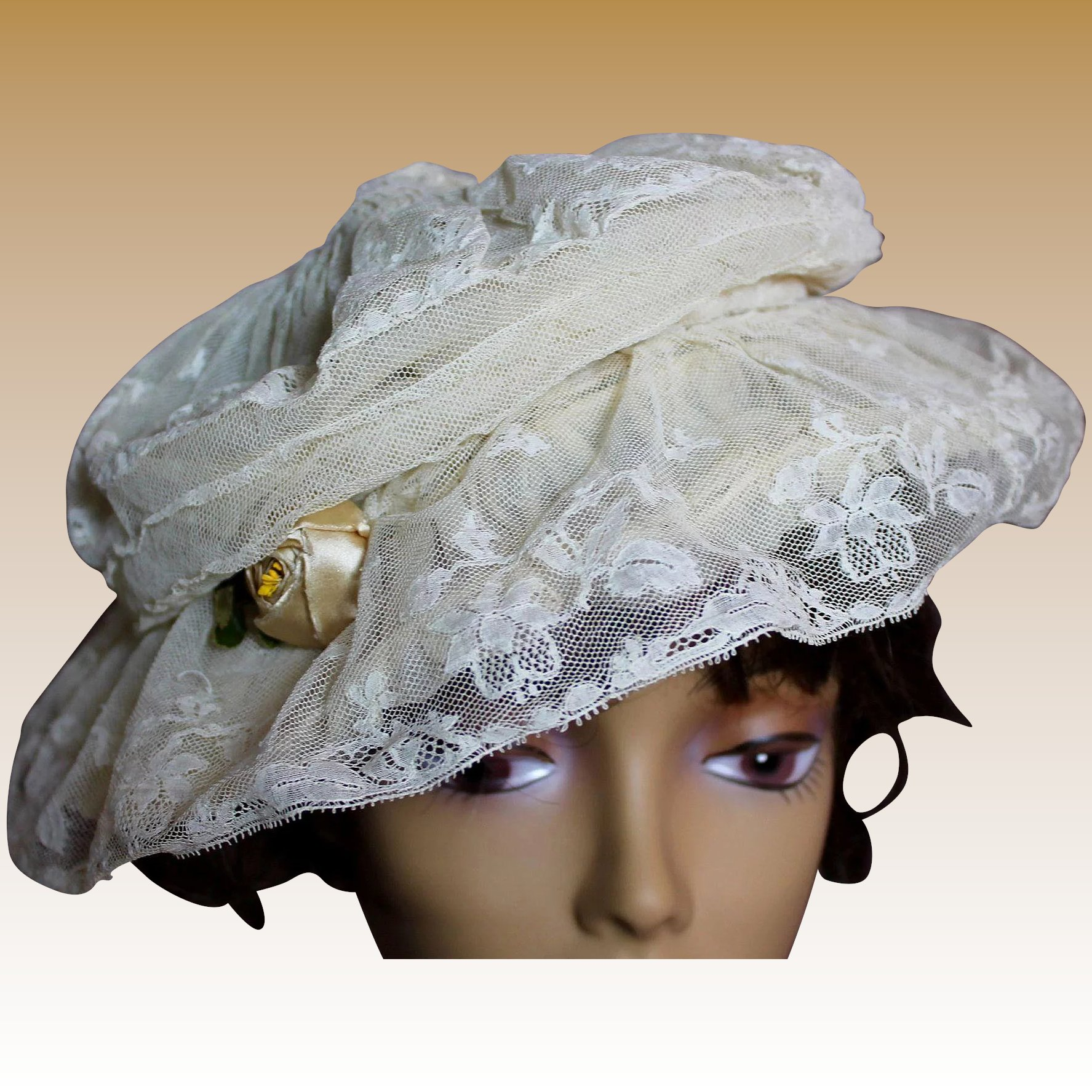 Incredible Edwardian Lace Ladies Wire Hat   Victorian Retreat ... a1ea8366fa1