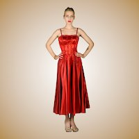 Gorgeous Vintage 1950's Red Satin Party Dress