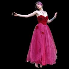 Incredible Vintage Velvet and Tulle Gown 1950's