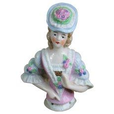 "Lovely 3 1/4"" German Half Doll in Fancy Outfit"