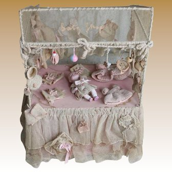 "Rare Antique Original ""Baby Shop"" Presentation with Bisque ByeLo"