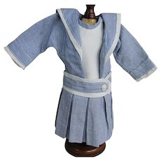 Sweet Blue and White Sailor Dress for Smaller Doll