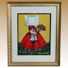 Darling Vintage Sunbonnet Baby Framed Print with Doll