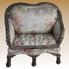 Gorgeous Antique French Settee for Doll