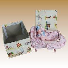 Vintage Bisque Baby in Music Box Cradle with Original Box