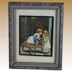 Miniature Antique Print in Vintage Frame