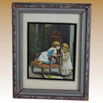 Miniature Antique Print in Vintage Frame