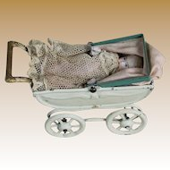 Miniature Metal Carriage with All Bisque Baby