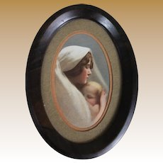 Vintage Miniature Madonna and Child Framed Print