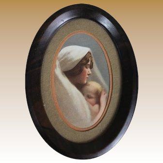Vintage Miniature Madonna and Child Framed Print