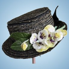 Darling Antique Straw Hat for Small Doll