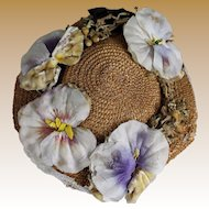 Antique Straw Doll Hat with Flowers