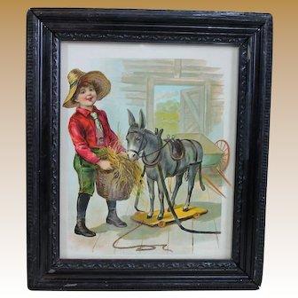 Framed Antique Print for Toy or Doll Room
