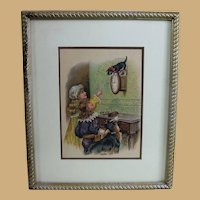 Adorable Framed Antique Print with Children, Cat and Dog