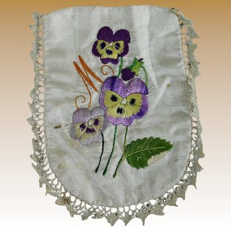 Darling Silk Embroidered Pocket for Doll Dress