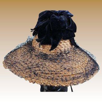 Charming Vintage Straw Hat with Navy Velvet Ribbon for Larger Doll