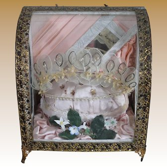 Glorious French Wedding Vitrine Casket for Doll Display