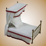 Vintage Miniature Brass Doll Bed