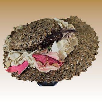 Antique Fancy Straw Hat with Original Flowers