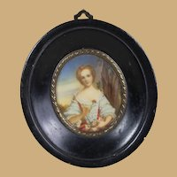 Gorgeous Miniature Antique French Portrait
