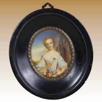 Gorgeous Miniature Antique French Portrait